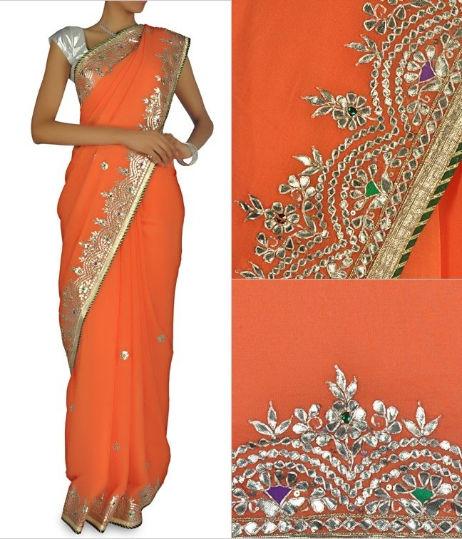 Orange Peach Designer Sari