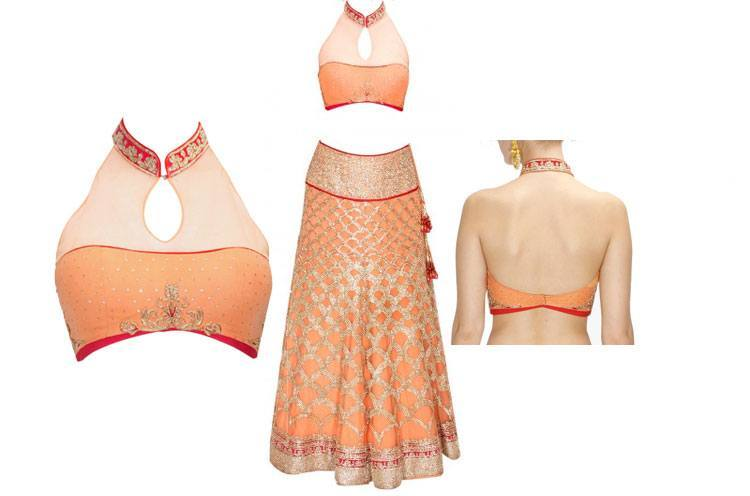 Peach zari embroidered lehenga blouse design