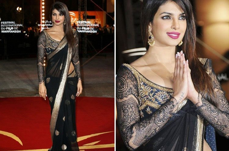 Priyanka Chopra in sheer saree blouse design