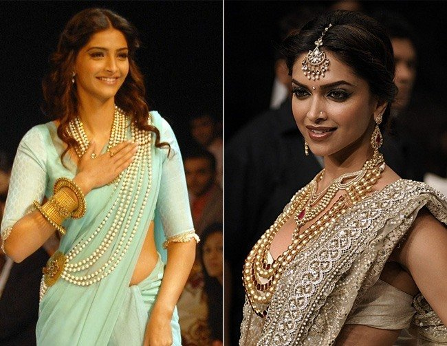 Sonam Deepika wearing Pearl Jewelry