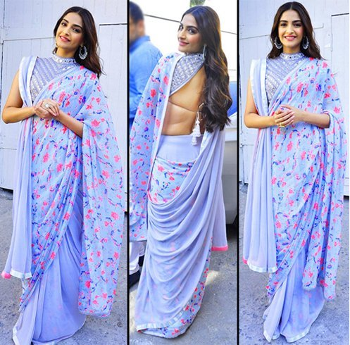 Sonam Kapoor In Blue Saree