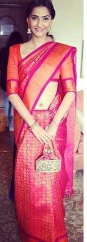 Sonam Kapoor in Pink Pattu Saree