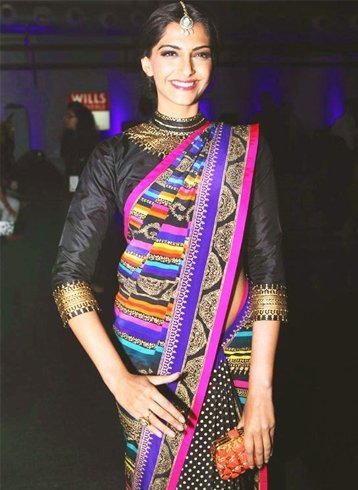 Sonam Kapoor in Pink and Black Manish Arora Saree