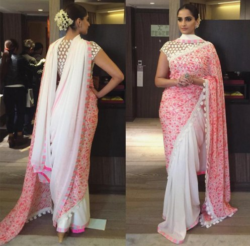 Sonam Kapoor in White and Pink Saree