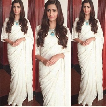 Sonam Kapoor in a White Saree