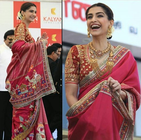 Sonam Kapoor with Abu Jani and Sandeep Khosla Saree