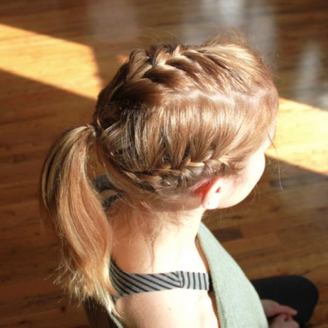 Triple French braid Hairstyle for Gym