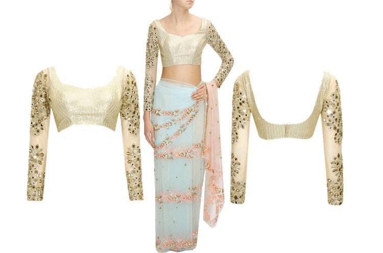 flowers pre stitched sari with gold embroidered blouse
