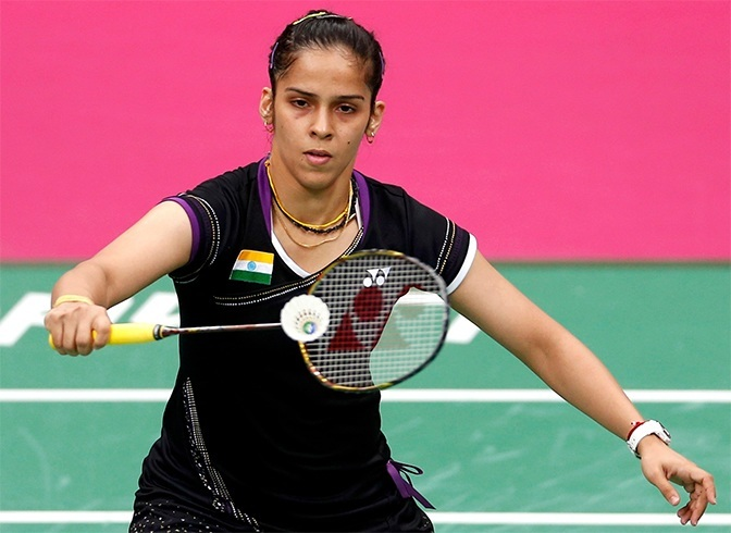 Saina playing badminton