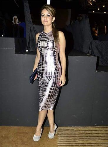 Natasha Poonawala Paco Rabane dress designed by Manish Arora