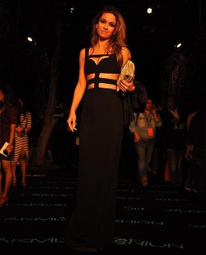 Natasha Poonawala in Alexander McQueen cut out dress