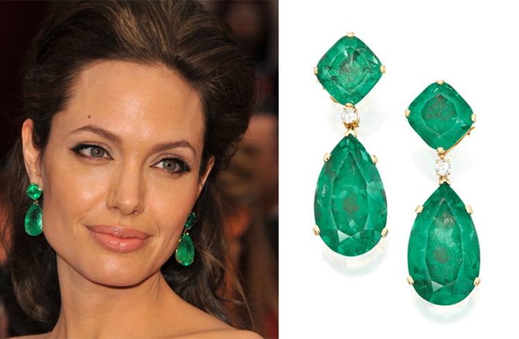 Angelina Jolie Emerald Drop Earrings