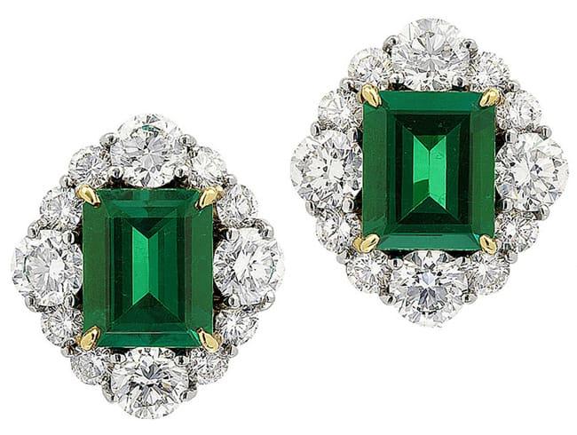 Columbian Emerald And Diamond Earrings