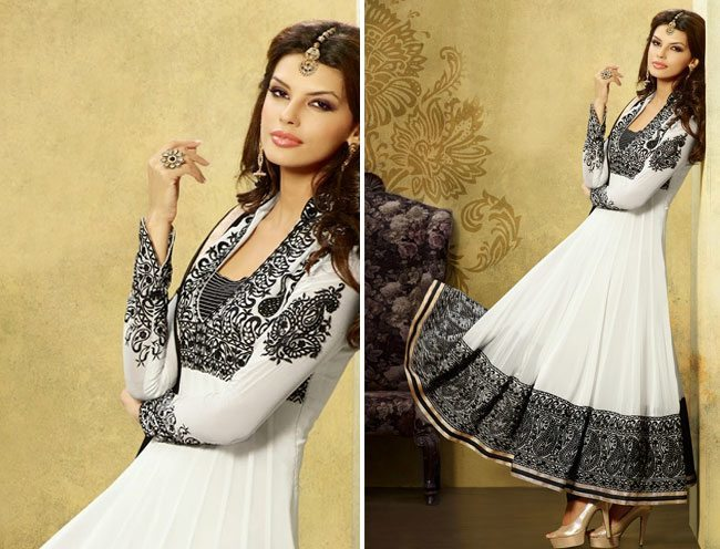 Captivating Black White Long Anarkali Suit
