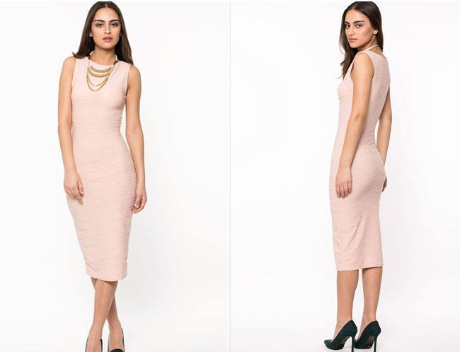 DREAMS Textured Bodycon Midi Dress