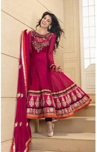Ethnic deep pink color semi stitched anarkali suit