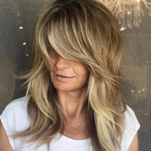 Layers With Side Swept Fringe for Women Over 50