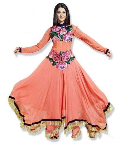 Peach colour faux georgette anarkali salwar kameez by fabfiza