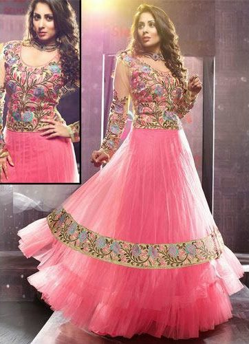 Sangeeta ghosh in pink net anarkali suit