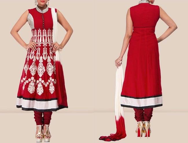 Vibrant Red Chanderi Anarkali Suit