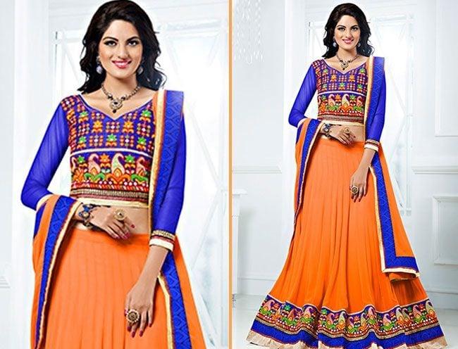 beautiful orange and blue color chaniya choli