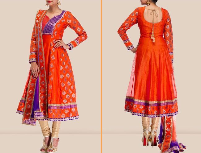 chanderi anarkali suit