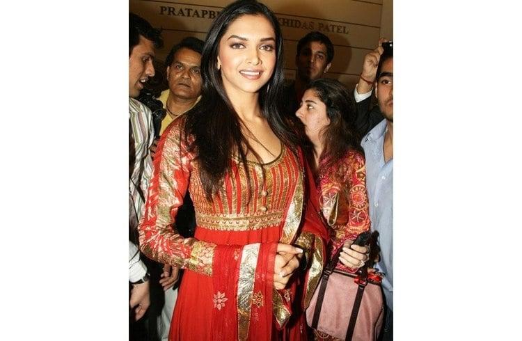 Deepika Padukone Hairstyles with Indian Wear