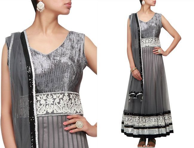 grey anarkali suits
