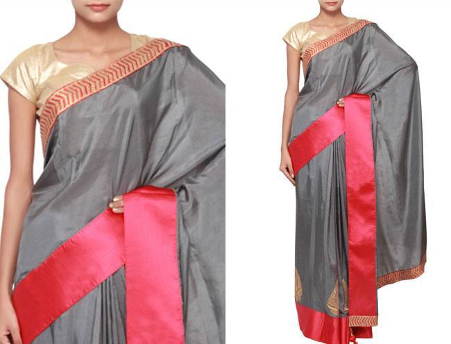 grey saree adorn