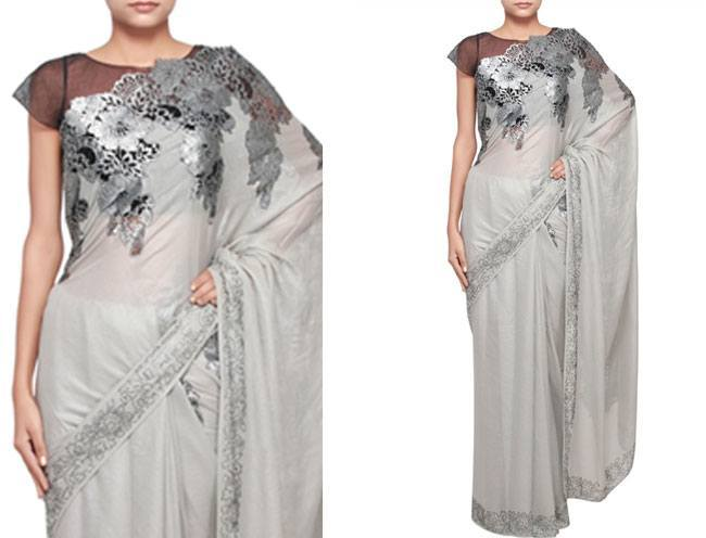 lovely grey saree with silver borders