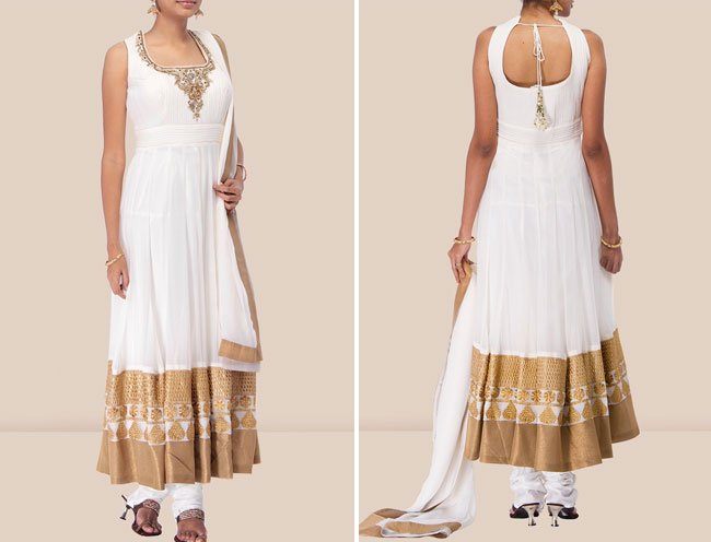 off white chiffon anarkali suit