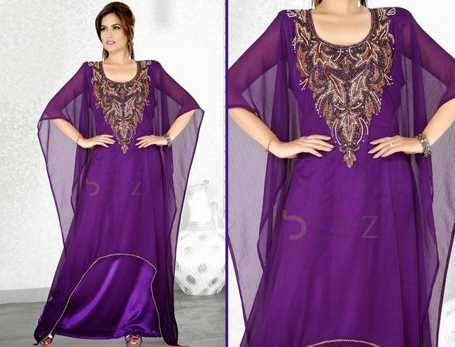 purple georgette farasha kaftan