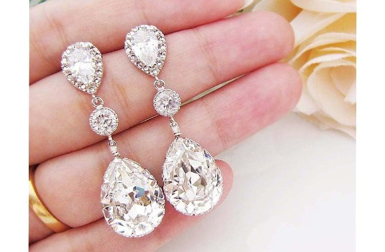 Swarovski crystal bridal earrings