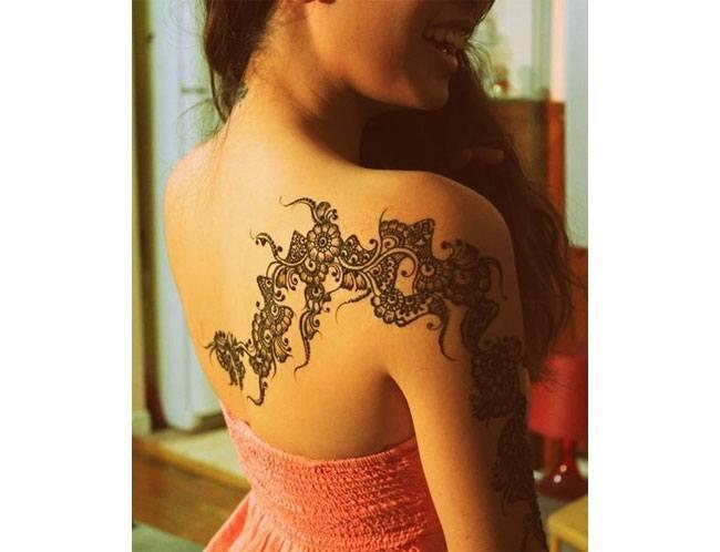 tattoo patterns on open back dress