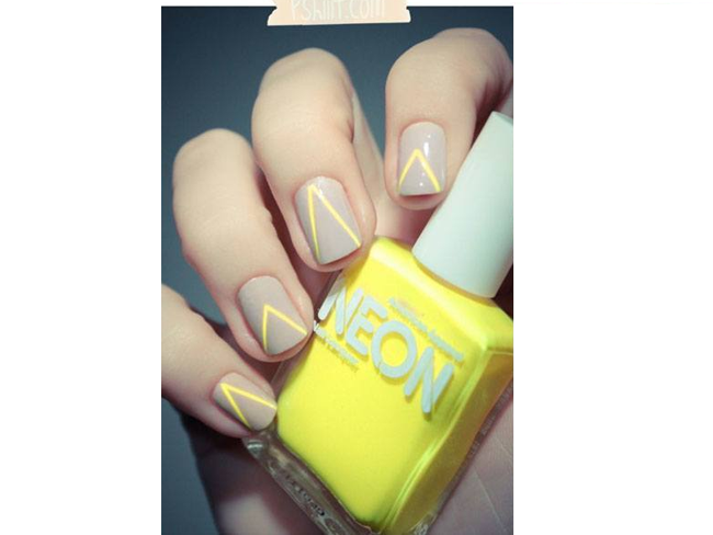 Neon Chevron Nail Art