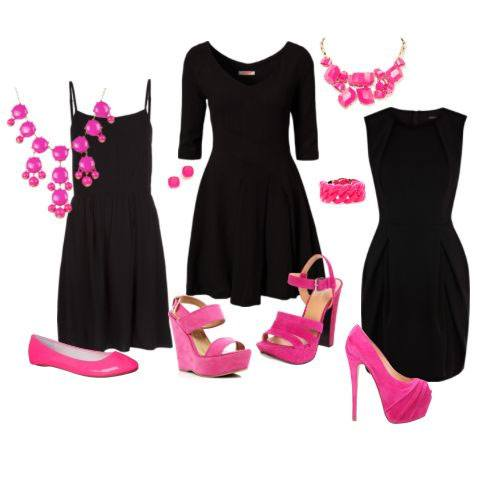 Black dress and pink accessories