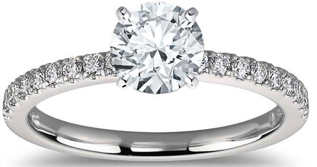 Petite Pavé Diamond Engagement Ring in Platinum