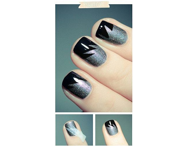 Black and Silver Nail Art Design