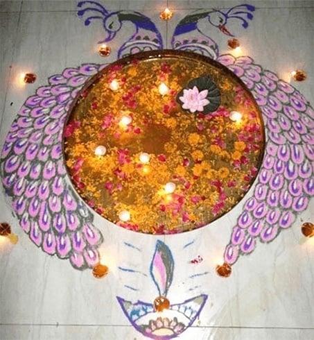 Diwali rangoli with peacock