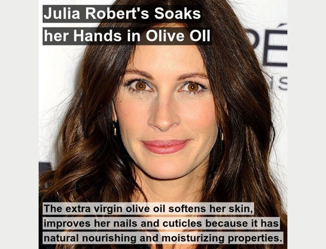 julia roberts uses olive oil to soften her skin improve her nails