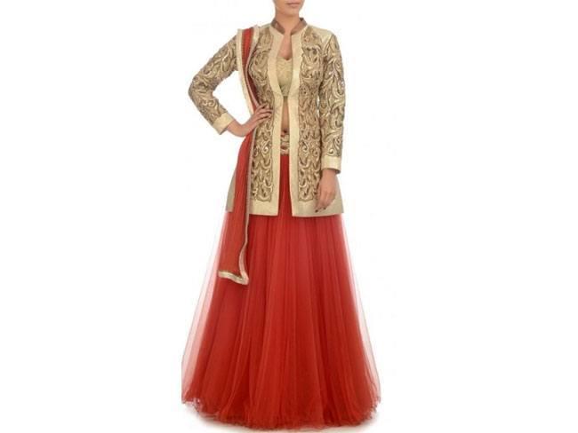 red long jacket lehenga choli Panache Haute Couture