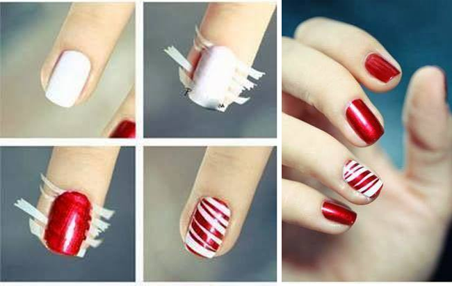 red & white nail art