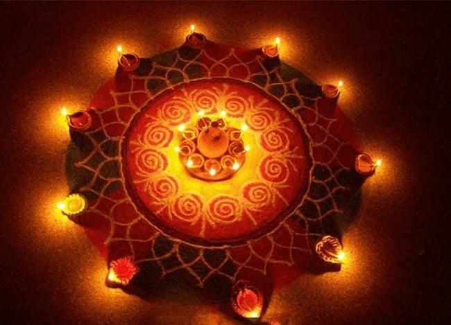 Star rangoli for diwali