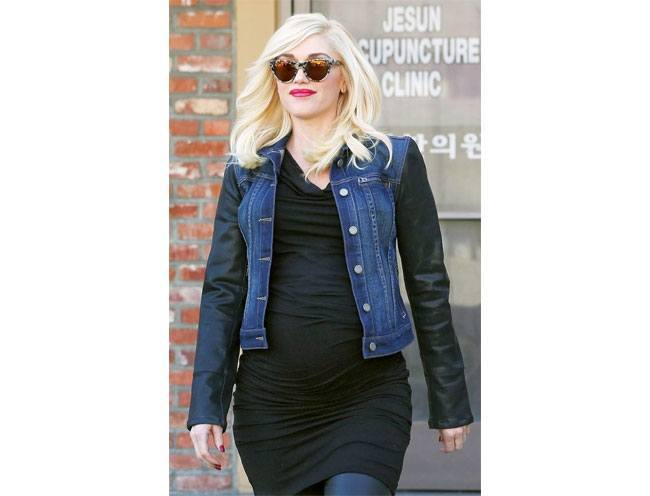 American singing star Gwen Stefani in a denim and leather jacket