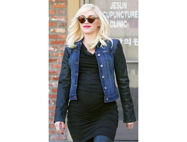 American singing star Gwen Stefani in a denim and leather jacket