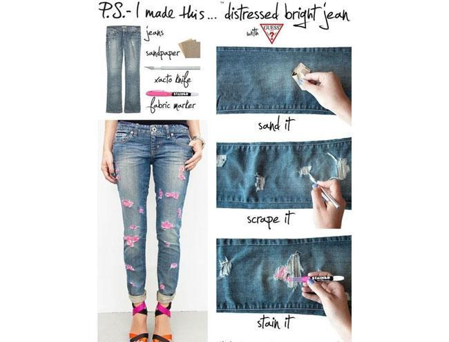 Distressed bright denims