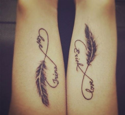 Infinity Couple Tattoo With Names And Feathers