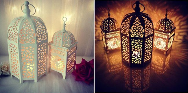 Place the candles in lanterns