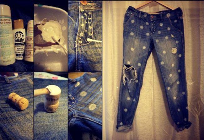 Polka dotted boyfriend jeans