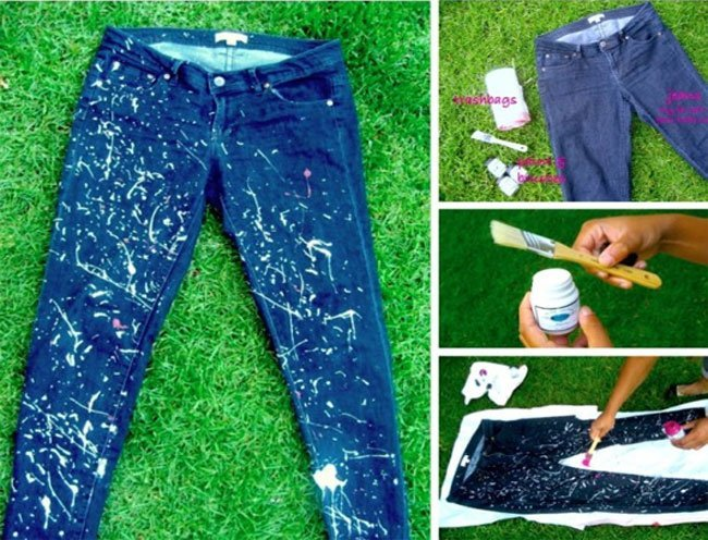 Pollock inspired drip painted jeans